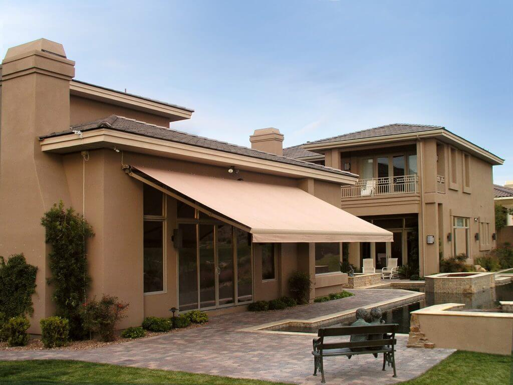 residential solid para fabric retractable awning wall mounted