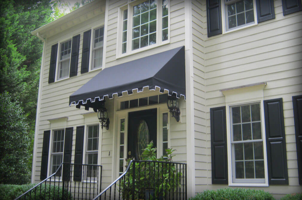 residential fixed permanent door para fabric awning with Greek style valance