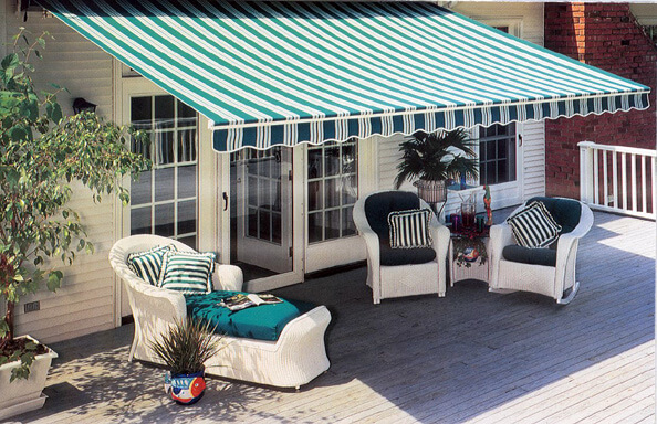 sunbrella striped fully extended retractable awning
