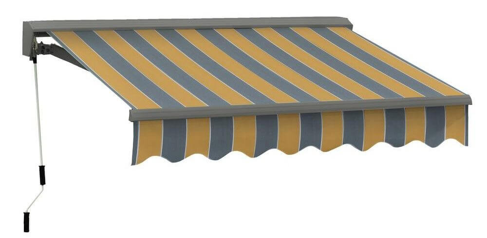 manual striped retractable awning with hood and detachable crank