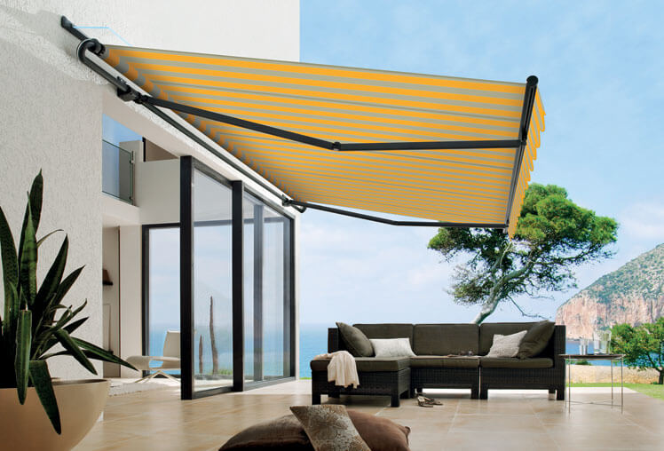 para striped retractable awning wall mounted wave valance style