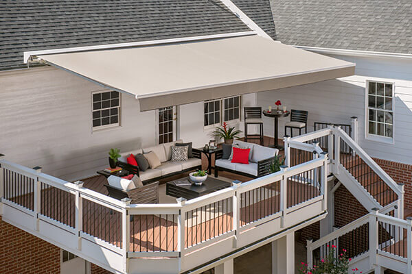 sunbrella retractable awning roof mounted solid fabric straight valance
