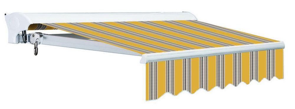 motorized striped retractable awning with hood backup manual override pitch adjustment