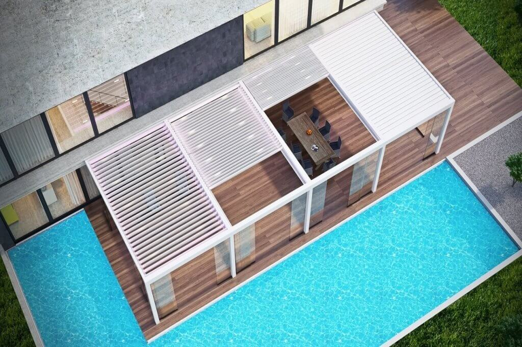 rotating retractable louver roof
