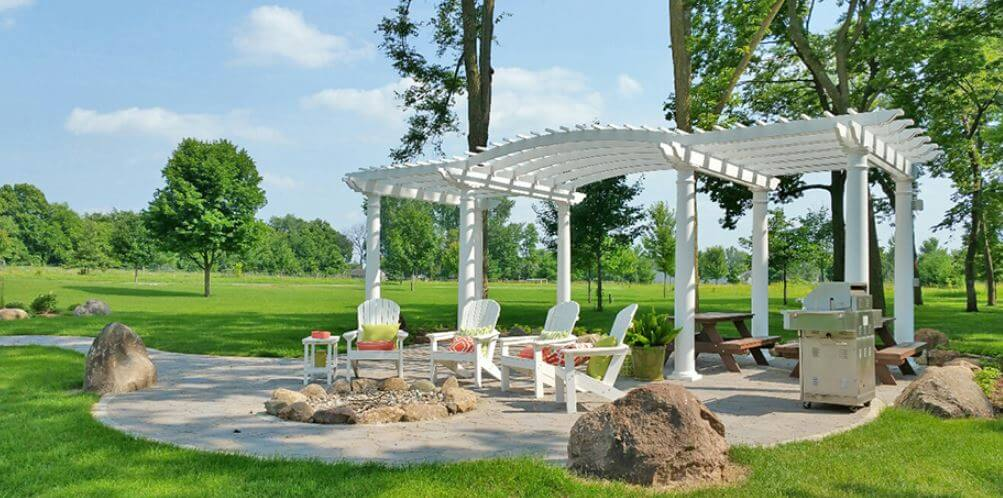 residential wood free standing flat arched pergola
